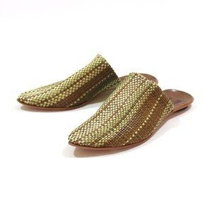 Cydwoq Leather Stripe Woven Orient Mules Sandal